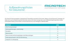 Aufbewahrungsfristen | Tabellenform | microtech.de