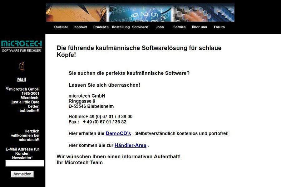 microtech Webseite aus dem Jahr 2000