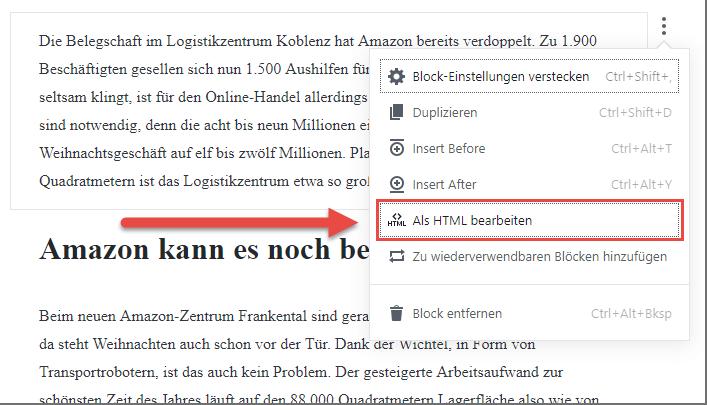 Gutenberg Editor Ansicht ändern
