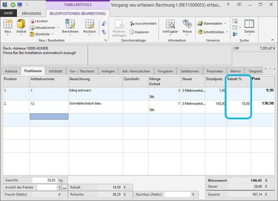 Screenshot erp-complete mit Rabattberechnung   microtech.de