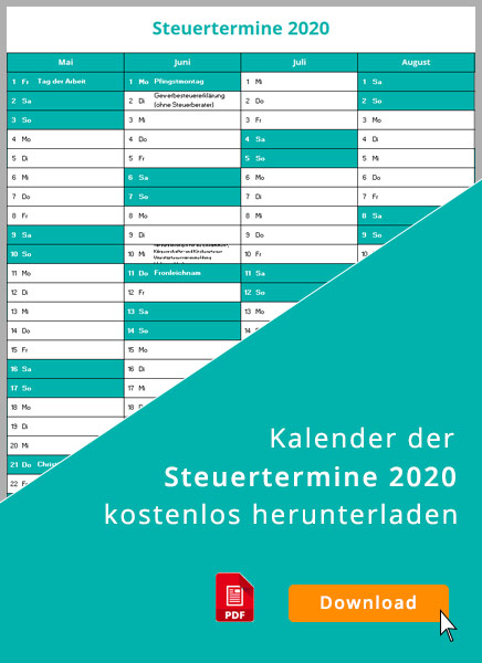 Steuertermine 2020: Liste zum Download