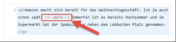 Weiterlesen Tag HTML Code